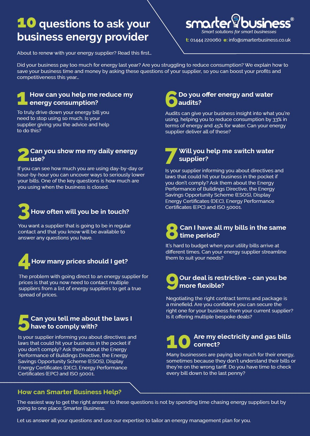 10 questions to ask your business energy supplier